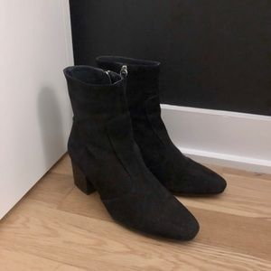 Topshop black suede real leather boots